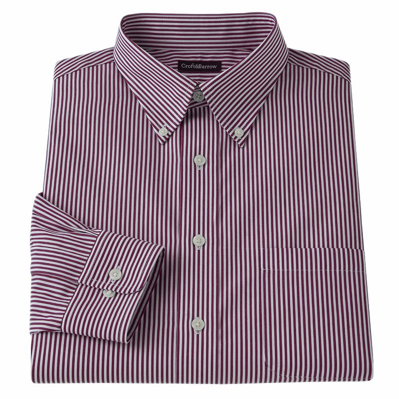 Men's Croft & Barrow® Slim-Fit Striped Easy-Care Button-Down-Collar Dress Shirt