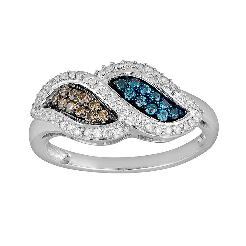 10k White Gold 2/5-ct. T.W. Champagne, Blue and White Diamond Swirl Ring