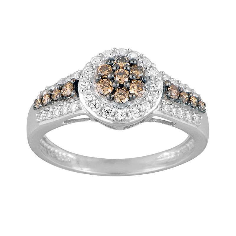 10k White Gold 5/8-ct. T.W. Champagne and White Diamond Frame Ring