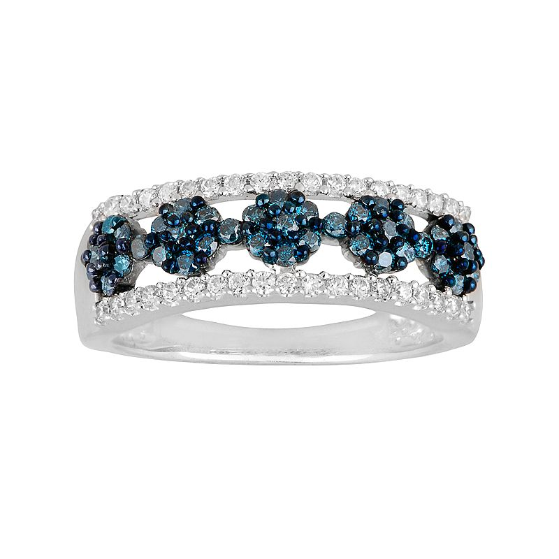 10k White Gold 5/8-ct. T.W. Blue and White Diamond Flower Ring