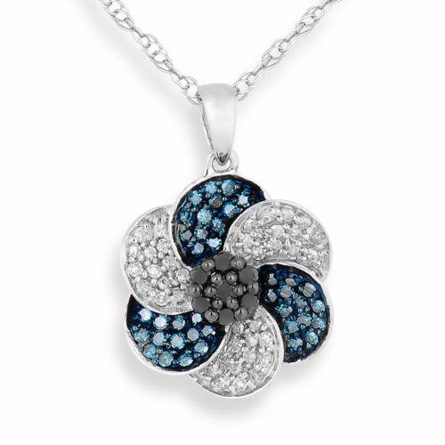 10k White Gold 1/2-ct. T.W. Blue, Black and White Diamond Flower Pendant