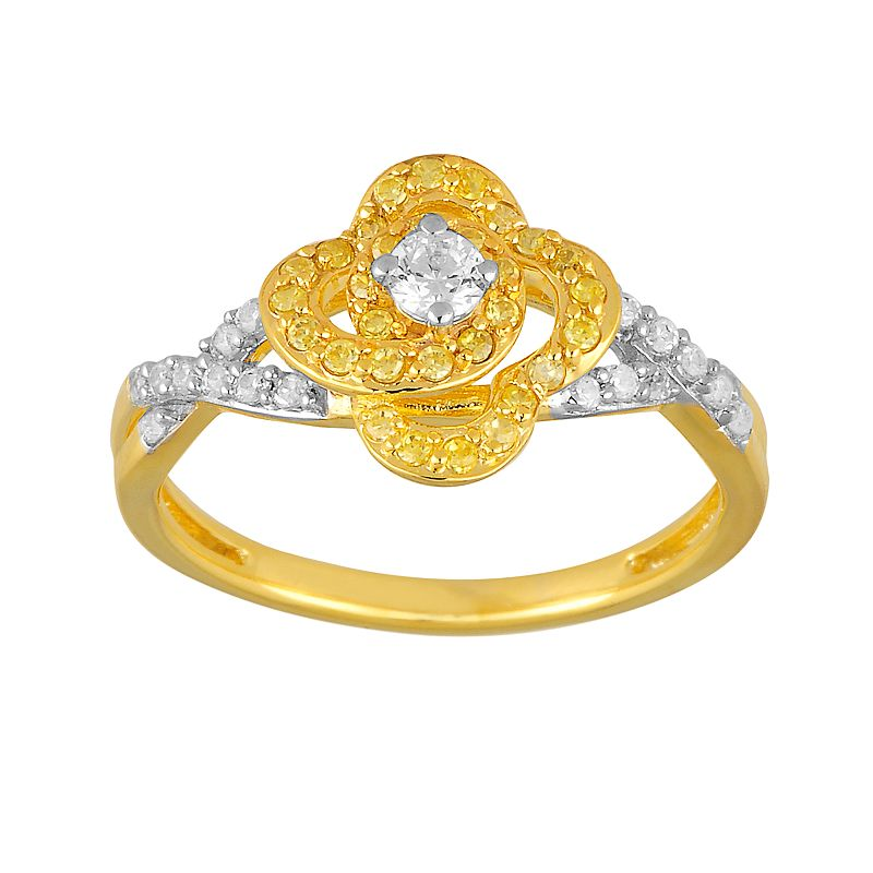 24k Gold Over 10k Gold 1/2-ct. T.W. Yellow and White Diamond Flower Ring