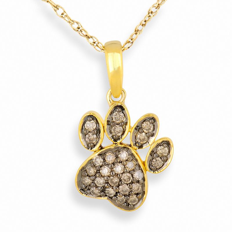 10k Gold .26-ct. T.W. Champagne Diamond Paw Pendant