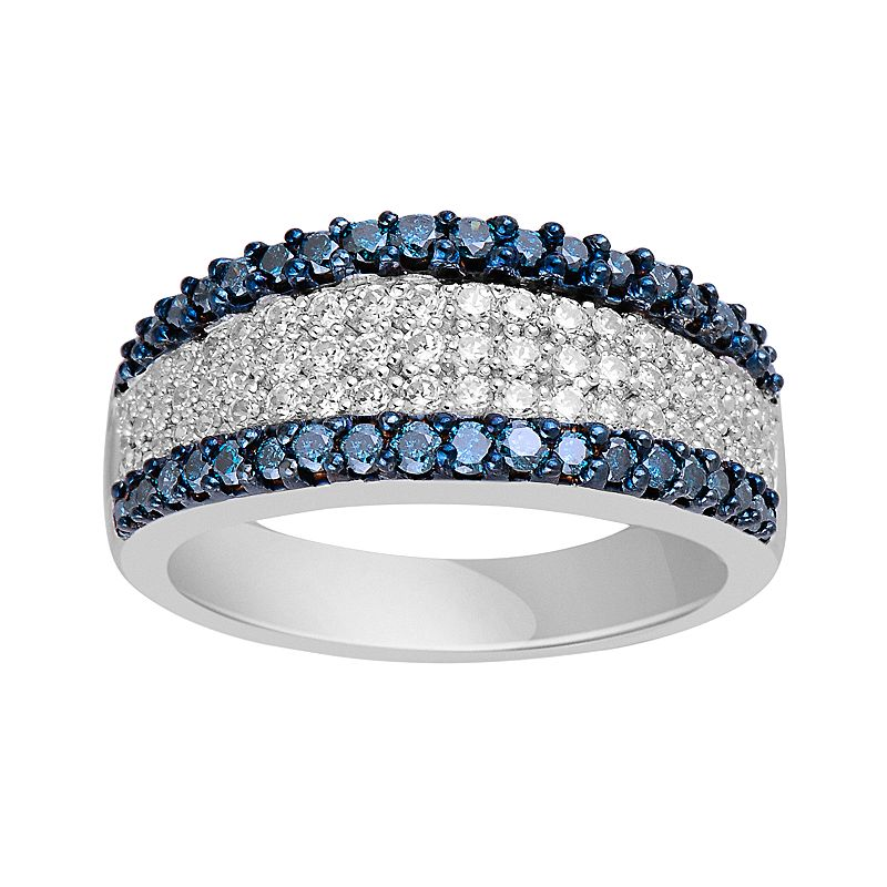 10k White Gold 1-ct. T.W. Blue and White Diamond Ring