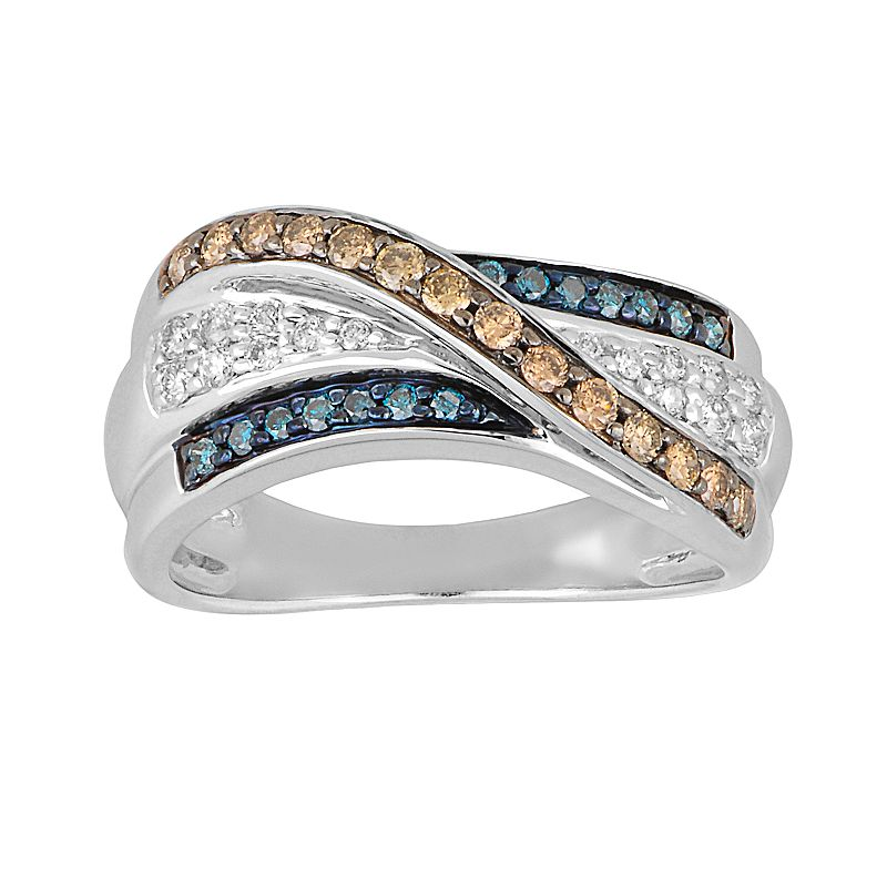 10k White Gold 1/2-ct. T.W. Champagne, Blue and White Diamond Swirl Ring