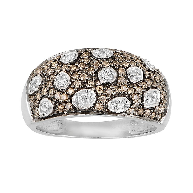 10k White Gold 5/8-ct. T.W. Champagne and White Diamond Animal Print Ring