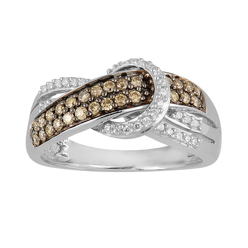 10k White Gold 1/2-ct. T.W. Champagne and White Diamond Knot Ring