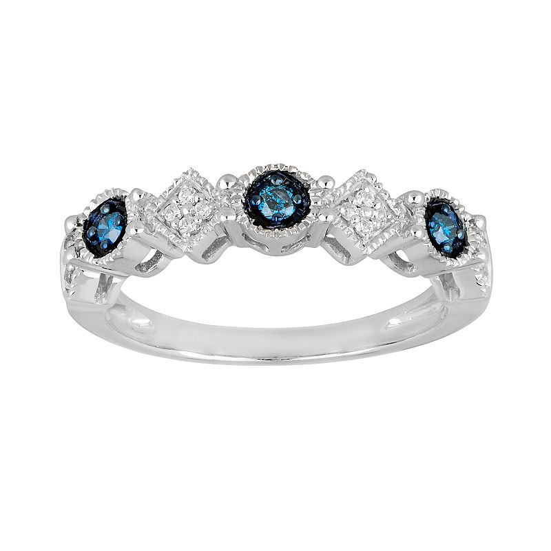 10k White Gold 1/7-ct. T.W. Blue and White Diamond Ring