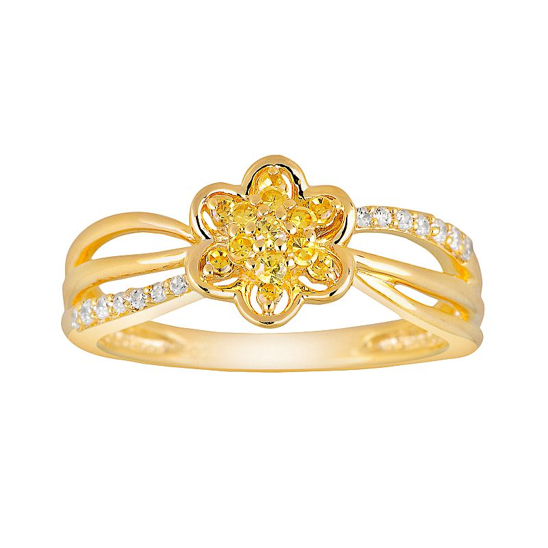 24k Gold Over 10k Gold 1/4-ct. T.W. Yellow and White Diamond Flower Ring