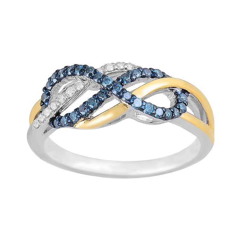 10k Two Tone Gold 1/3-ct. T.W. Blue and White Diamond Infinity Ring