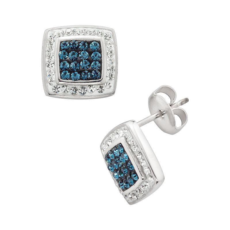 Silver Plated Crystal Square Frame Stud Earrings