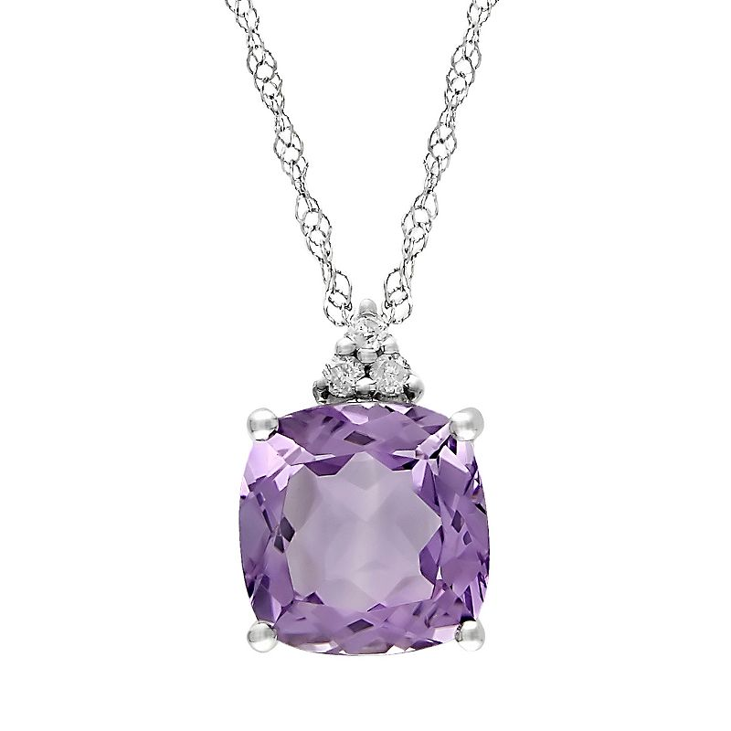 10k White Gold Amethyst and Diamond Accent Pendant
