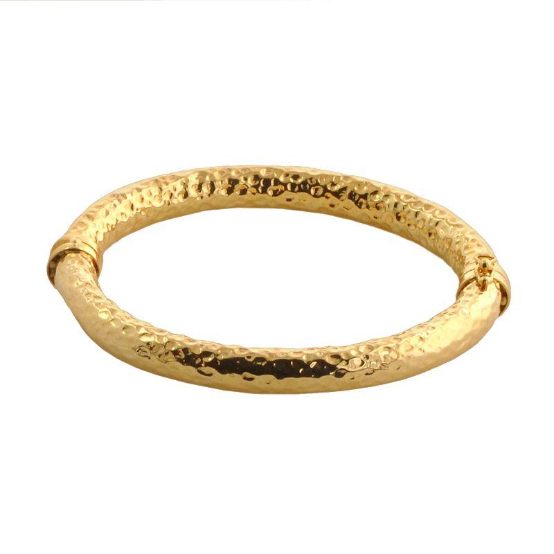 Elegante 18k Gold Over Brass Hammered Bangle Bracelet