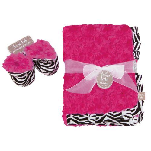 Trend Lab Zahara Blanket and Reversible Booties Set