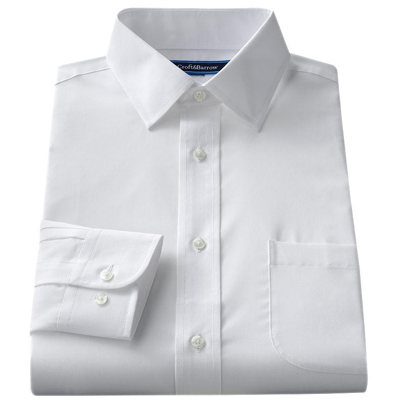 Big & Tall Croft & Barrow® Solid Broadcloth Spread-Collar Dress Shirt