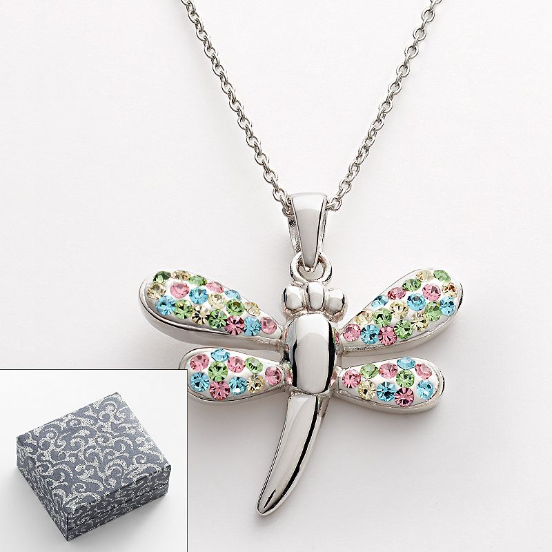 Silver Plated Crystal Dragonfly Pendant