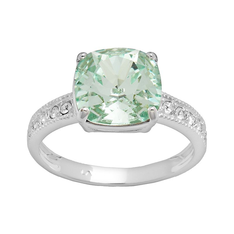 Silver Plated Crystal Square Ring