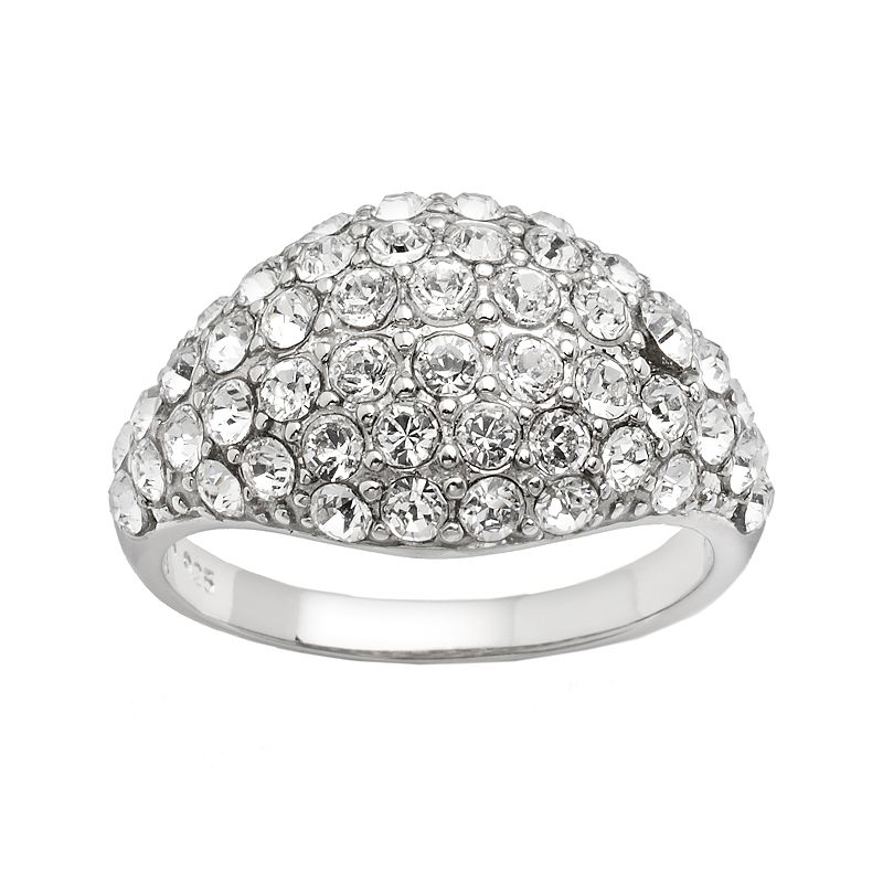 Silver Plated Crystal Dome Ring