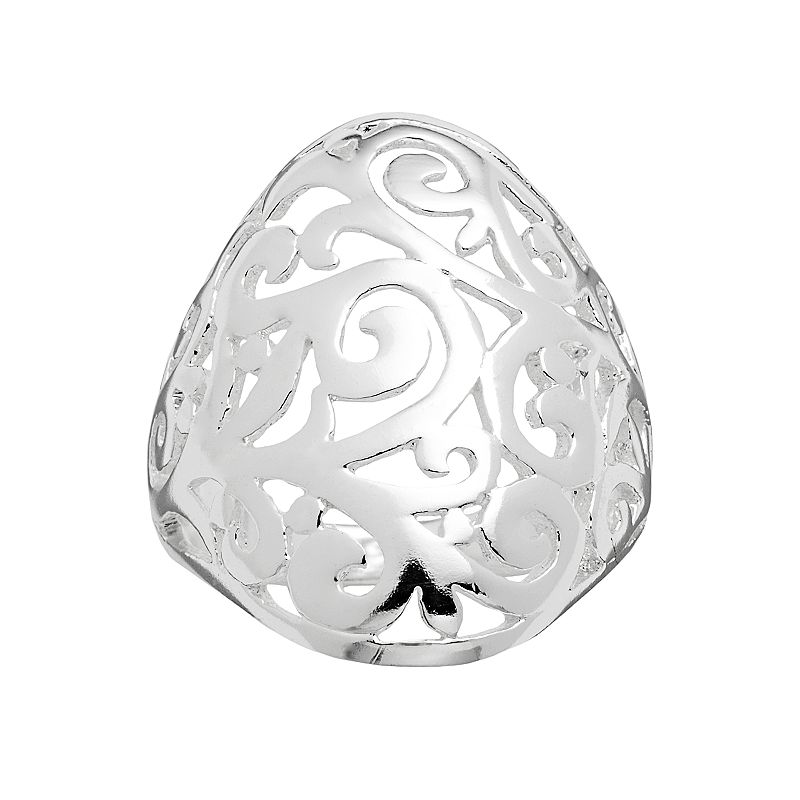 Silver Plated Filigree Dome Ring