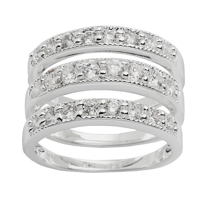 Silver Plated Crystal Stack Ring Set