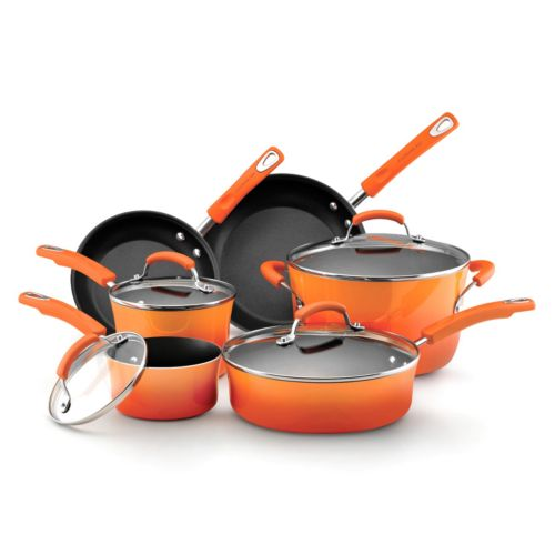 Rachael Ray 10-pc. Nonstick Porcelain Enamel Cookware Set
