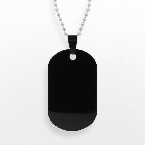 Stainless Steel Black Ion Dog Tag - Men