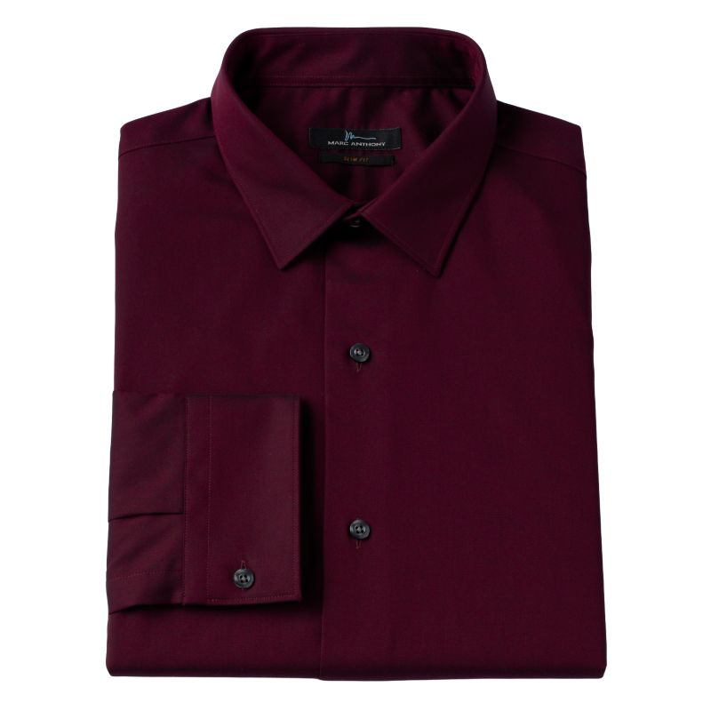 Marc Anthony Slim-Fit Solid Stretch Easy-Care Spread-Collar Dress Shirt