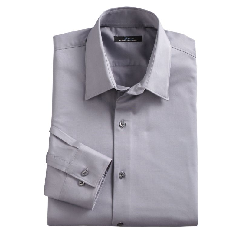 Men's Marc Anthony Slim-Fit Solid Stretch Easy-Care Spread-Collar Dress Shirt