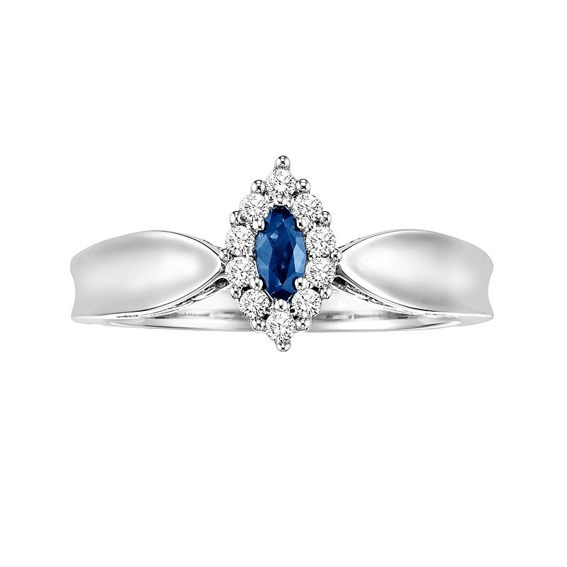 Love Always Diamond & Lab-Created Sapphire Frame Engagement Ring in Sterling Silver (3/8-ct. T.W.)