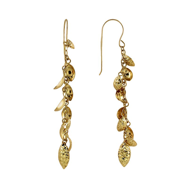 14k Gold Textured Leaf Linear Drop Earrings