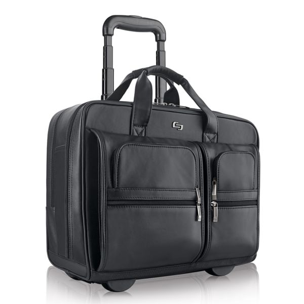 Solo Classic Leather Rolling Laptop Overnight Bag