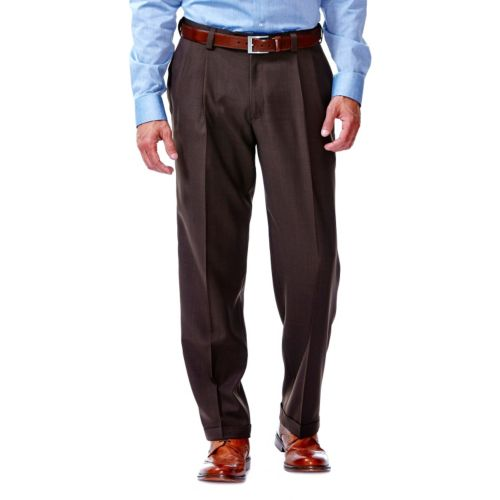 Haggar® eCLo™ Stria No-Iron Classic-Fit Pleated Comfort Waist Dress Pants - Men