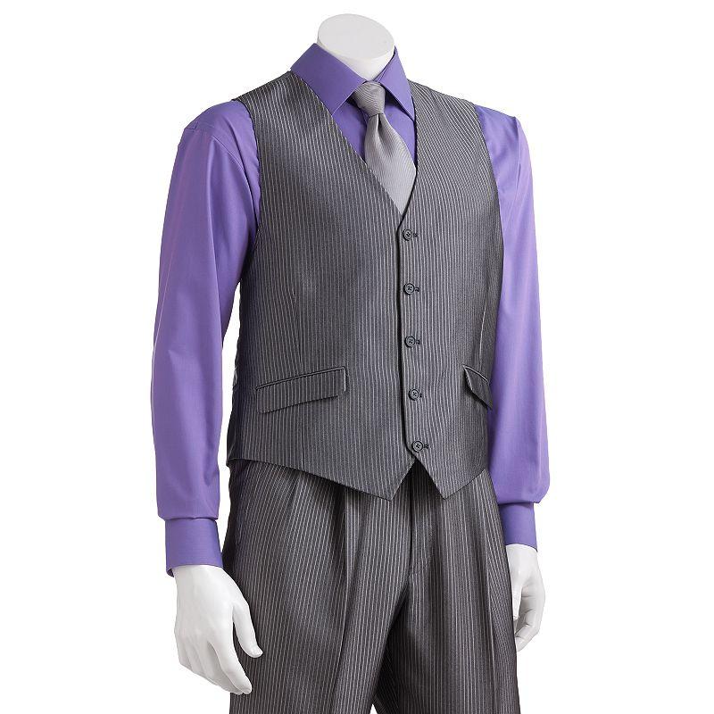 Men's Steve Harvey Striped Gray Suit Vest