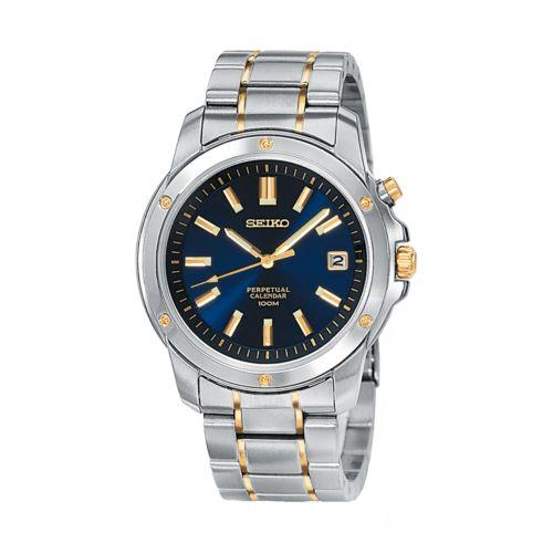 Seiko Two Tone Stainless Steel Perpetual Calendar Watch - SNQ010 - Men