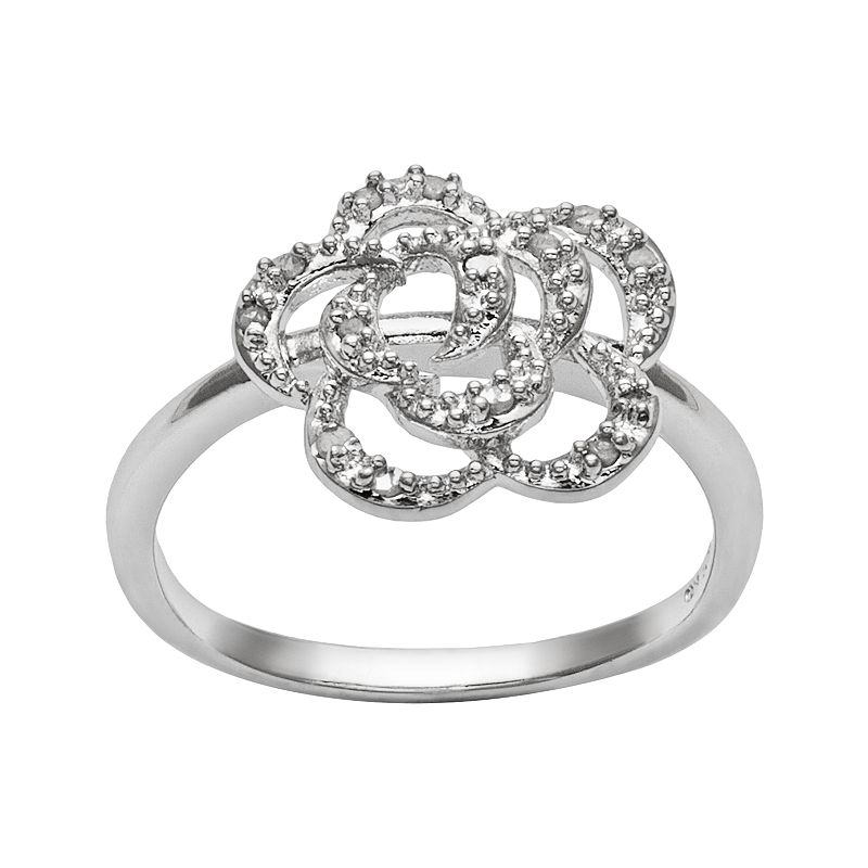 Sterling Silver 1/10-ct. T.W. Diamond Openwork Flower Ring