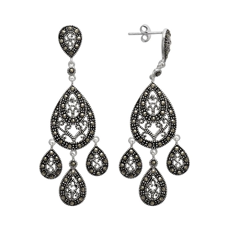 Le Vieux Marcasite Silver-Plated Chandelier Earrings - Made with Swarovski Marcasite