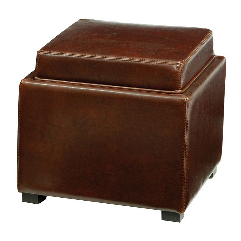 Safavieh Bobbi Leather Tray Storage Ottoman