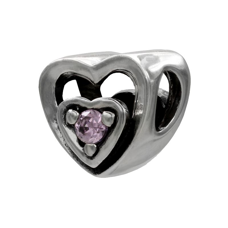 Individuality Beads Sterling Silver Cubic Zirconia Openwork Heart Bead