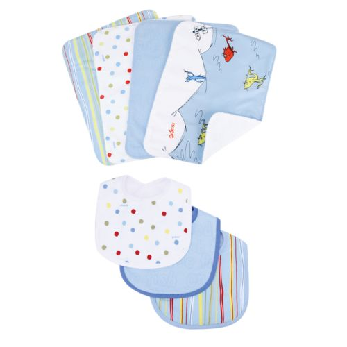 Dr. Seuss One Fish, Two Fish 7-pc. Bib and Burp Cloth Set by Trend Lab