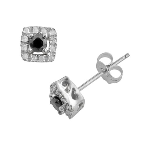 10k White Gold 1/4-ct. T.W. Black and White Round-Cut Diamond Square Frame Stud Earrings