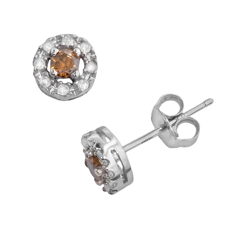 10k White Gold 1/4-ct. T.W. Champagne and White Round-Cut Diamond Frame Stud Earrings