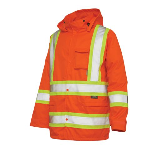 Work King High Visibility Hooded Rain Jacket - Men