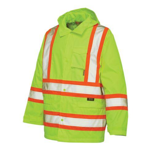 Work King High Visibility Hooded Rain Jacket - Big and Tall
