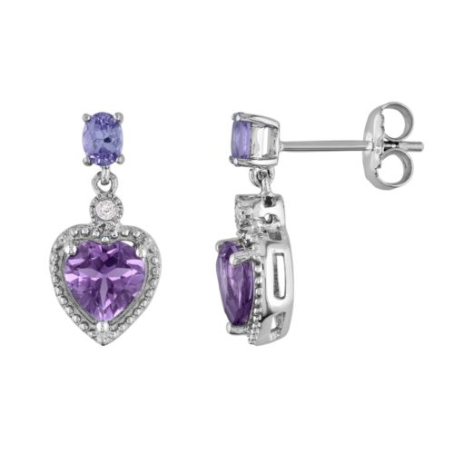 Sterling Silver Amethyst, Tanzanite and Diamond Accent Heart Drop Earrings