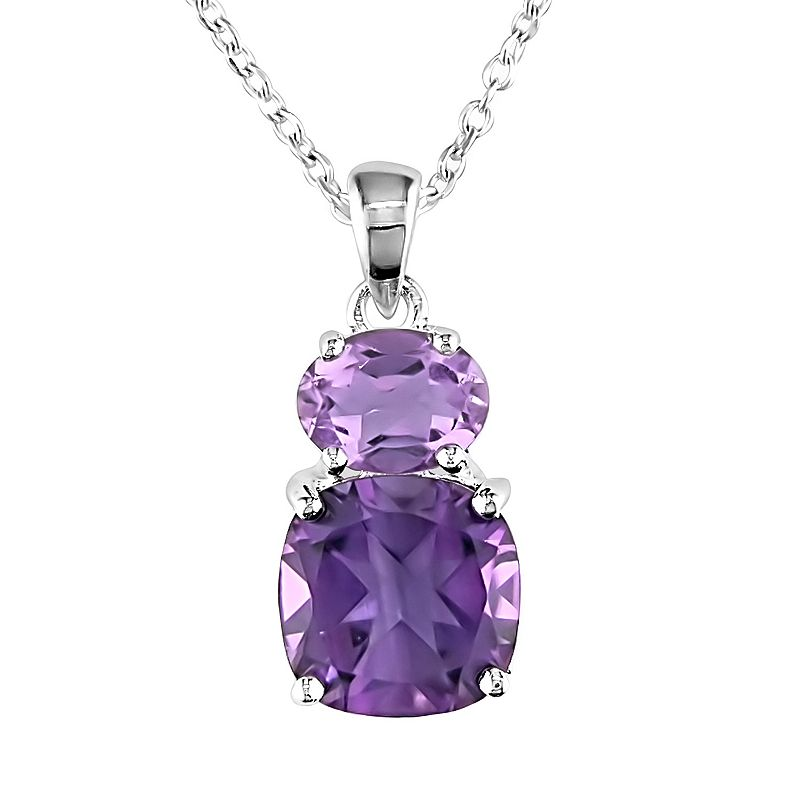 Sterling Silver Rose de France and Amethyst Pendant
