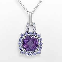 Sterling Silver Amethyst, Tanzanite & Diamond Accent Frame Pendant by