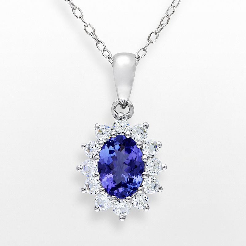 Sterling Silver Tanzanite and Lab-Created White Sapphire Oval Frame Pendant