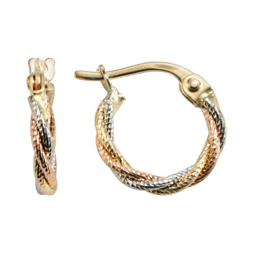 14k Gold Tri-Tone Braided Hoop Earrings