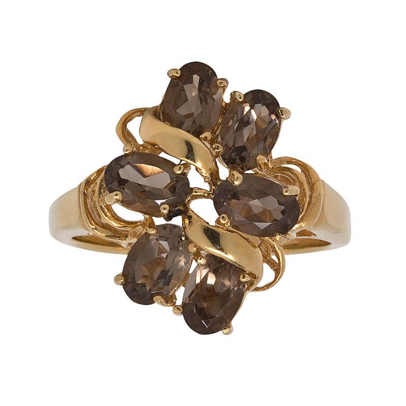 18k Gold Over Silver Smoky Quartz Openwork Ring