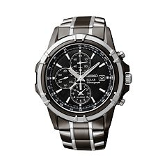 Seiko Men's Two Tone Stainless Steel Solar Chronograph Watch SSC143